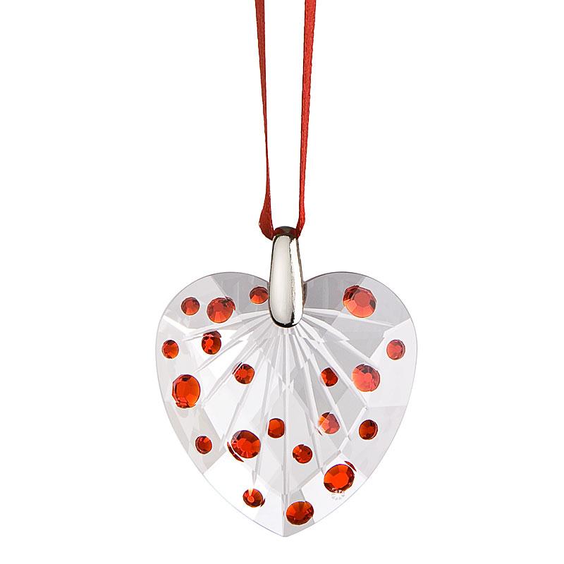 Preciosa Crystal Light Siam Heart Ornament