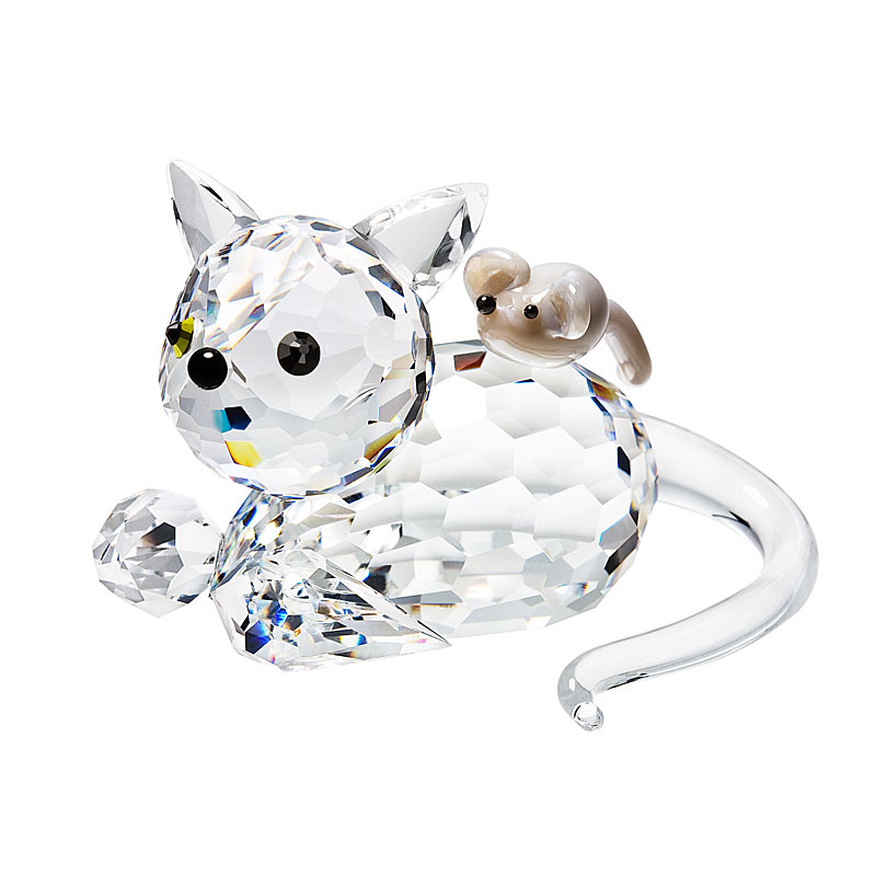 Preciosa Crystal Friendly Cat and Mouse Figurine