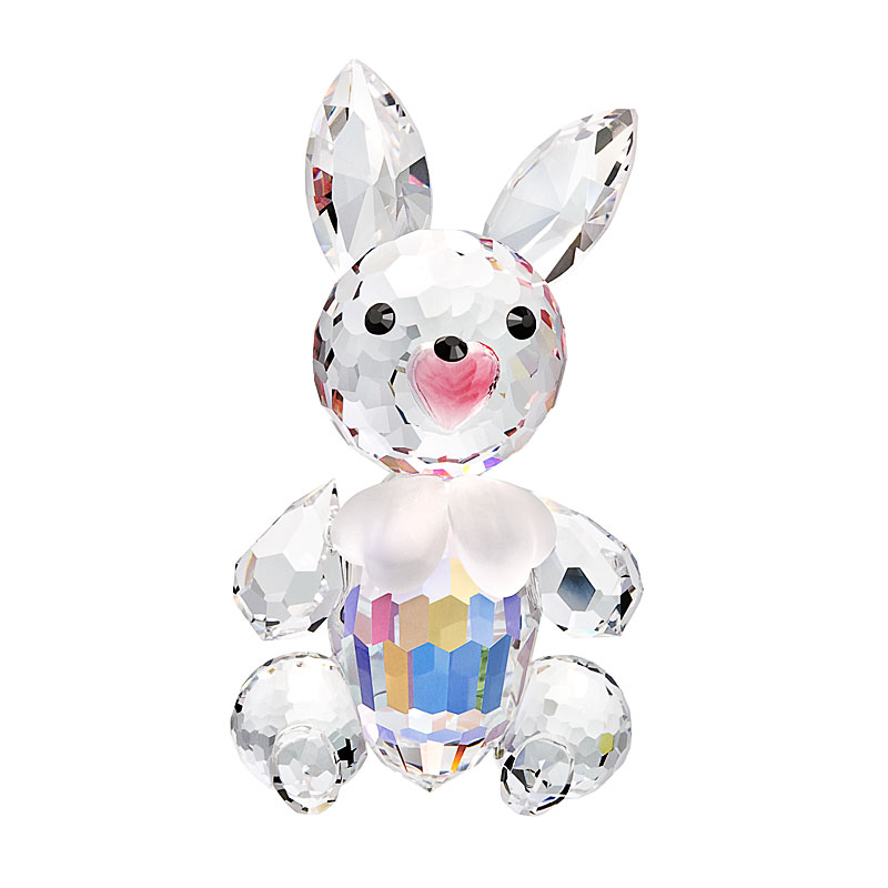 Preciosa Crystal Bunny Figurine with Bow Tie