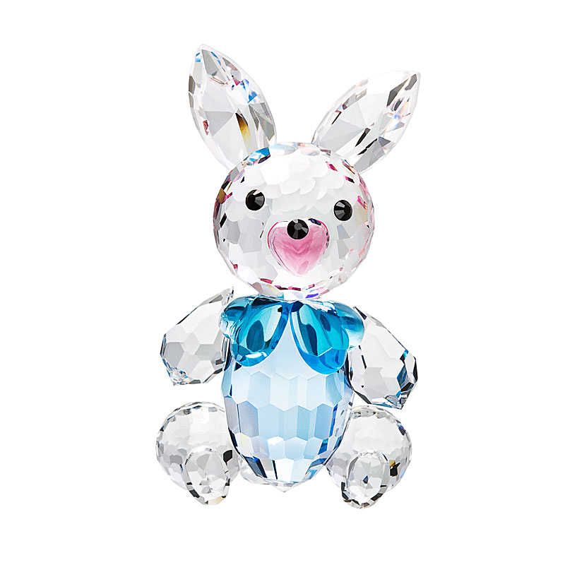 Preciosa Crystal Bunny Figurine with Blue Bow