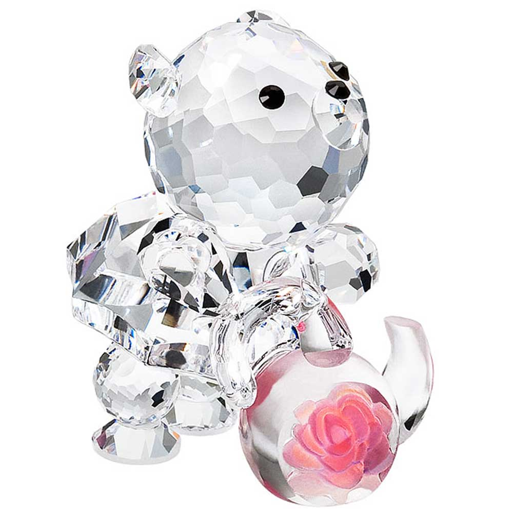 Preciosa Crystal Bear and Tea Kettle Figurine