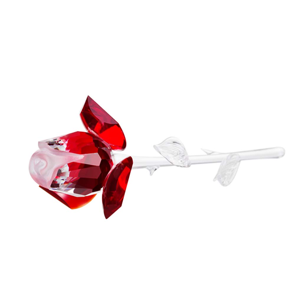 Preciosa Crystal Rose with Red Petals - 6.7 inches