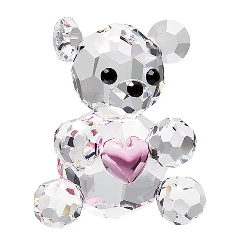 Preciosa Miniature Crystal Bear Figurine with Pink Heart