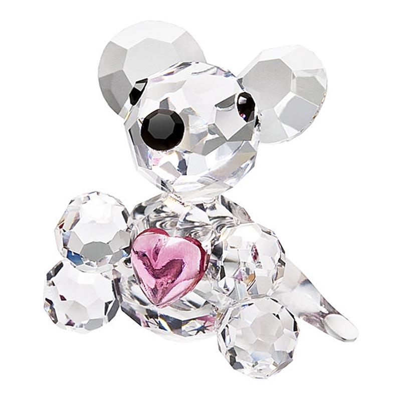 Preciosa Miniature Crystal Mouse Figurine with Pink Heart