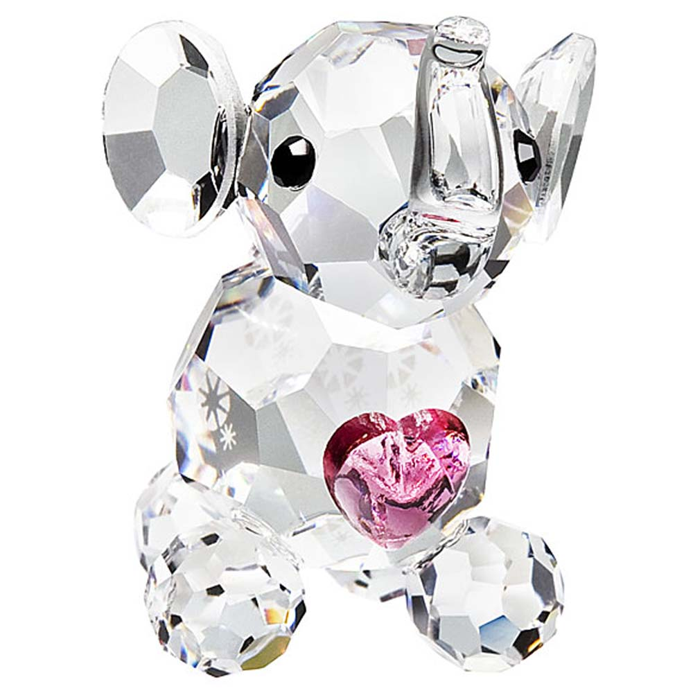 Preciosa Miniature Crystal Elephant Calf with Pink Heart