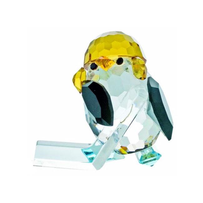 Preciosa Crystal Penguin Hockey Player Figurine