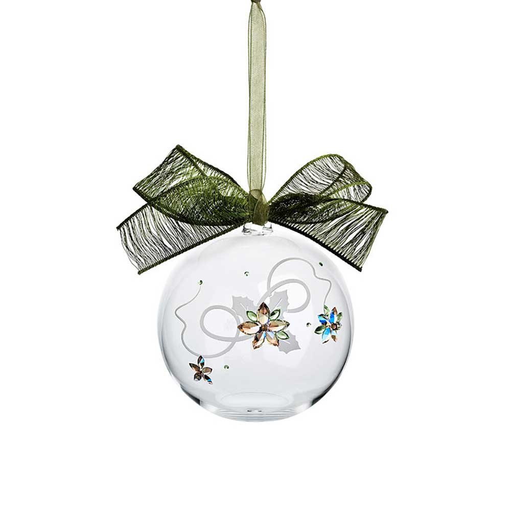 Preciosa Crystal Ball Ornament with Poinsettia Design