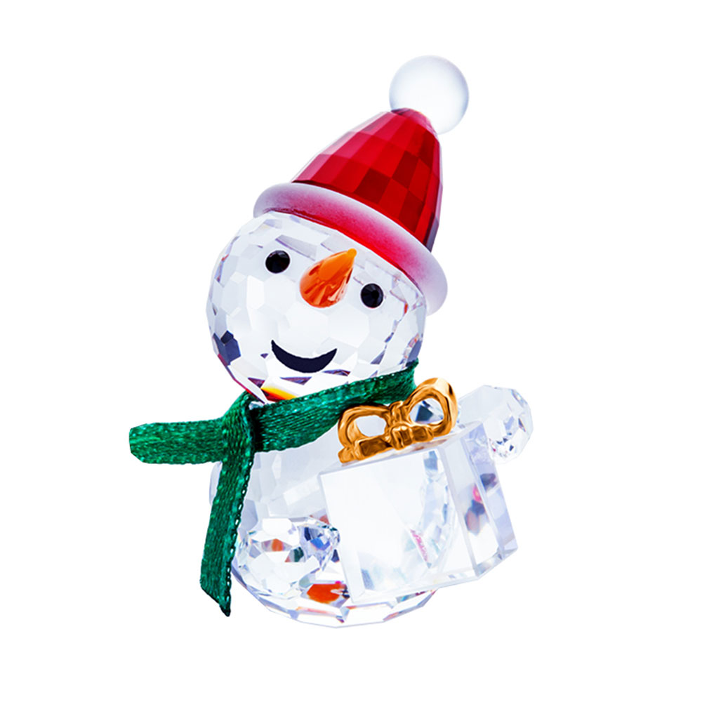 Preciosa Crystal Snowman with Green Scarf Holding Christmas Gift