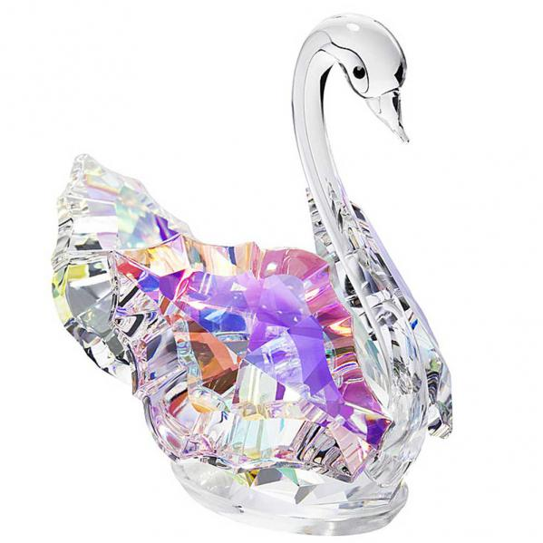 Preciosa Crystal Aurora Borealis Swan Figurine