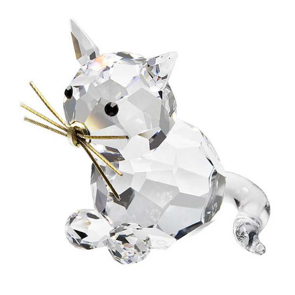 Preciosa Crystal Cat Figurine with gold whiskers