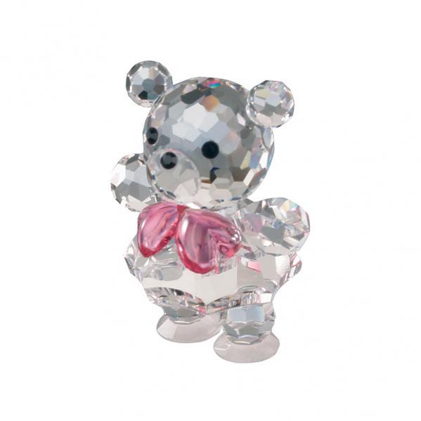 Preciosa Crystal Baby Bear Figurine with Pink Bow Tie