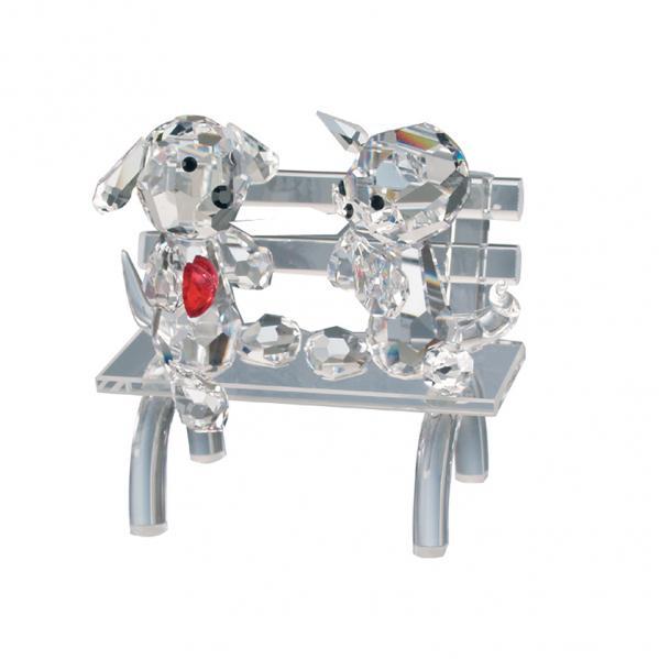 Preciosa Crystal Puppy Dog and Kitty on Park Bench Figurine