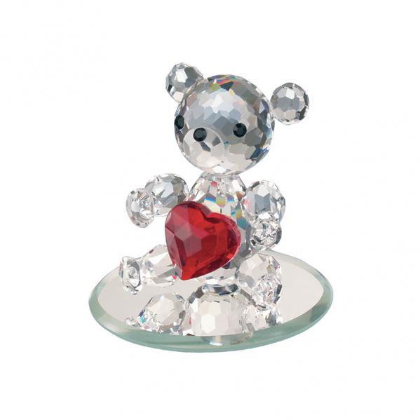 Preciosa Crystal Bear with Red Heart Figurine