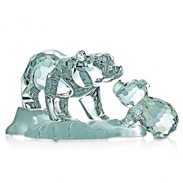 Crystal Bear Figuirne with Cub - Preciosa Designer Series