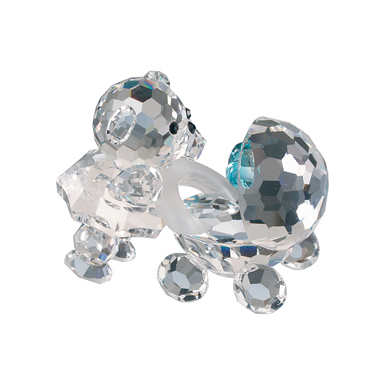Preciosa Crystal Baby Bear and Stroller with Blue Heart