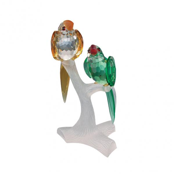 Preciosa Crystal Parrots on Branch Figurine