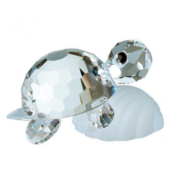 Preciosa Miniature Crystal Turtle on Shell Figurine