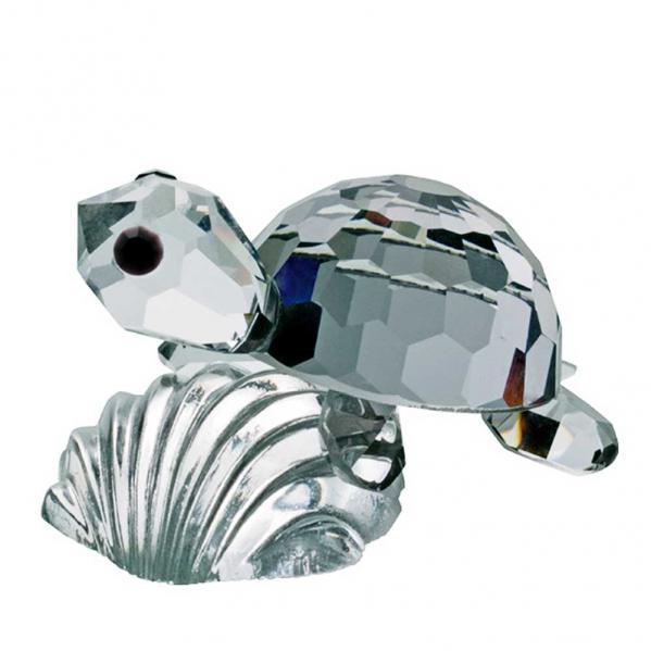 Preciosa Miniature Black Crystal Turtle on Shell Figurine