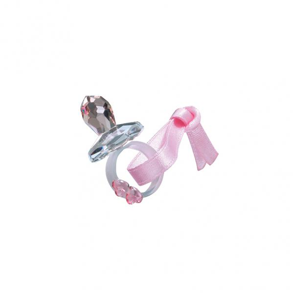 Preciosa Pink Crystal Pacifier with Pink Ribbon and Hearts