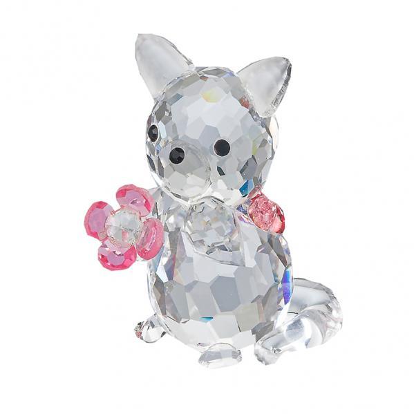 Preciosa Crystal Kitten Figurine holding Pink Flower