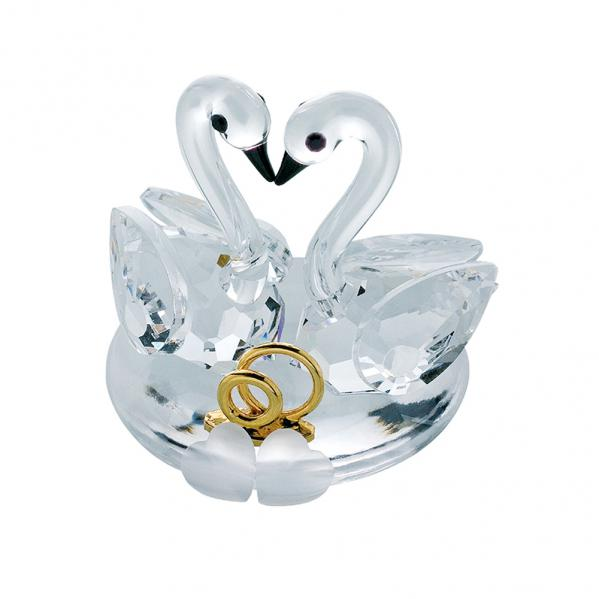 Preciosa Crystal Nuptial Swan Couple with hearts and gold rings