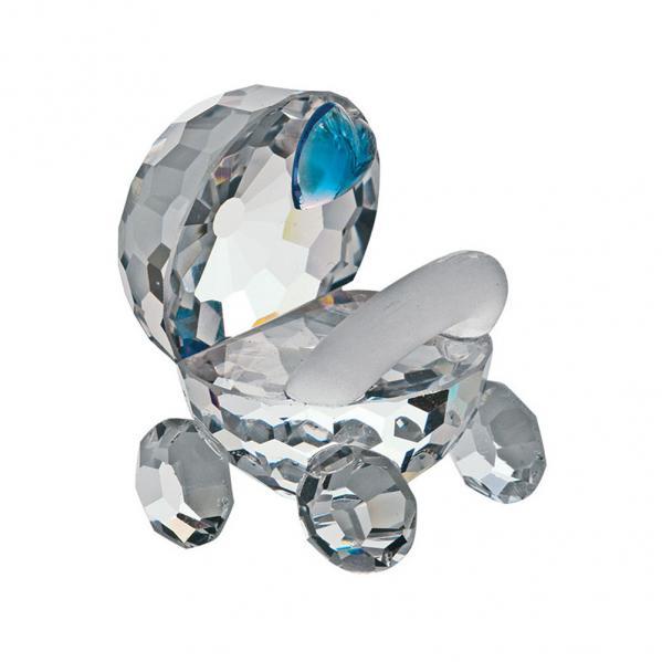 Preciosa Crystal Stroller with Blue Heart Figurine
