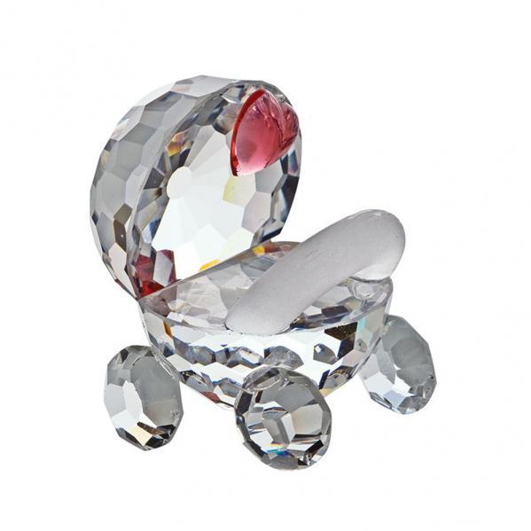 Preciosa Crystal Stroller with Pink Heart Figurine