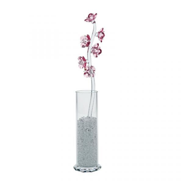 Preciosa Crystal Pink Pyrola Flower in Sparkling Vase