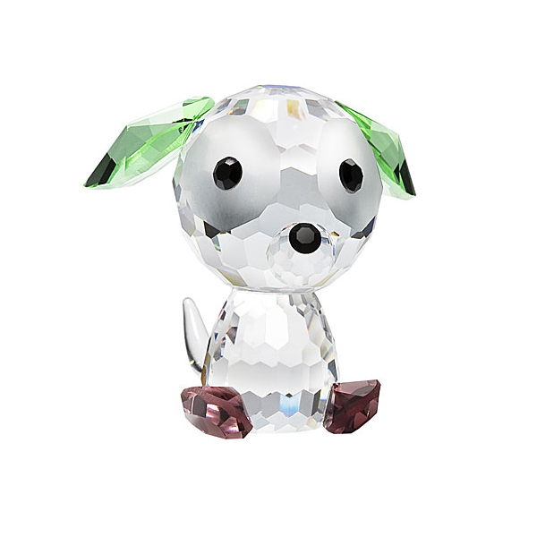 Preciosa Crystal Doggie Button Birthday Figurine
