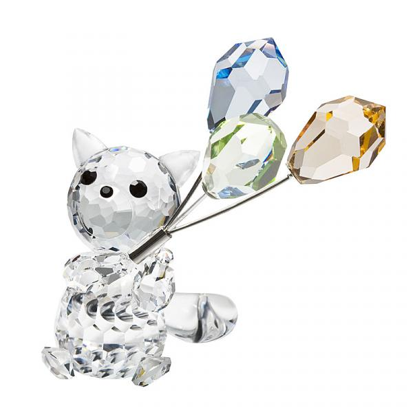 Preciosa Crystal Cat with Balloons Figurine