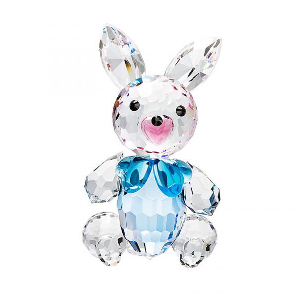 Preciosa Crystal Bunny Figurine with Blue Bow