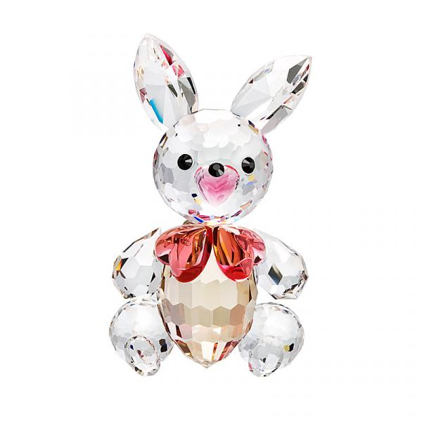 Preciosa Crystal Bunny Figurine with Pink Bow Tie