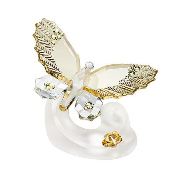 Preciosa Crystal Light Amber Butterfly Figurine