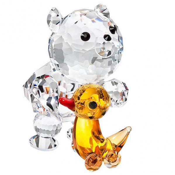 Preciosa Crystal Bear and Toy Duck Figurine