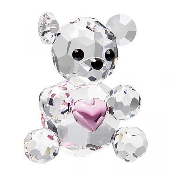 Preciosa Miniature Crystal Bear Figurine with Pink Heart
