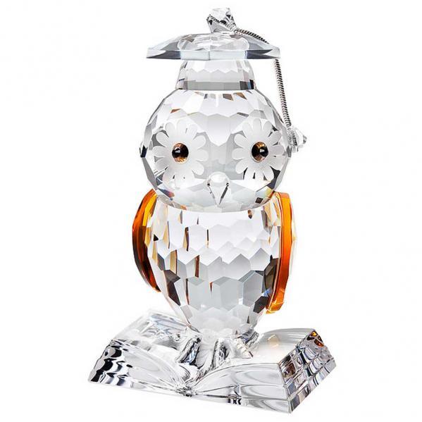 Preciosa Crystal Owl Figurine wearing Graduation Hat