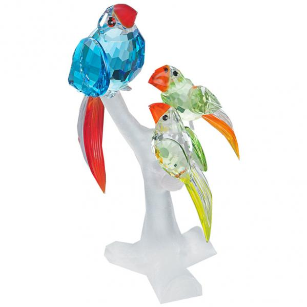 Preciosa Crystal Mother Parrot Figurine and her Babies
