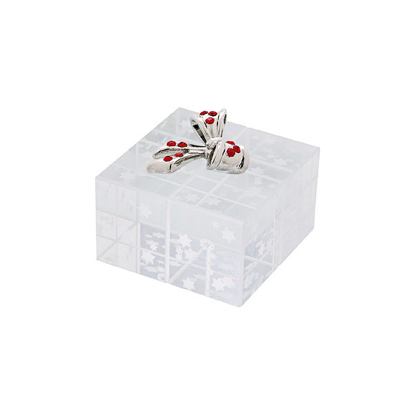 Crystal Christmas Surprise Gift Box with Silver Bow 1.2 inches by Preciosa Crystal