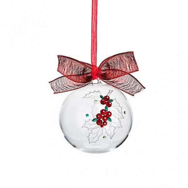 Preciosa-Crystal Ball Ornament with Holly Design