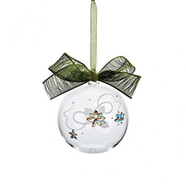Preciosa Crystal Ball Ornament with Poinsettia Design