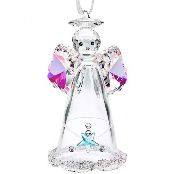 Preciosa Hanging Crystal Angel Figurine with Aurora Borealis Wings and Blue Star