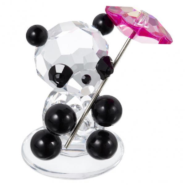 Preciosa Crystal Panda Bear Holding Pink Parasol