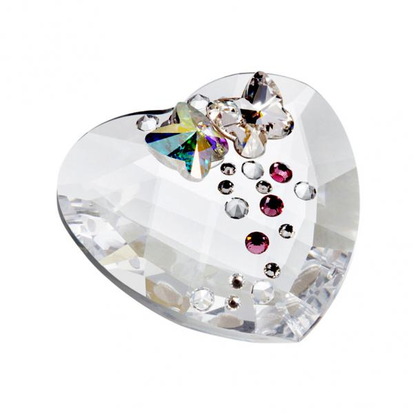 Preciosa Decorative Crystal Heart with Butterfly