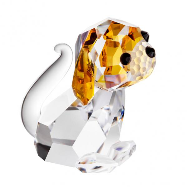 Preciosa Miniature Crystal Dog Figurine with Amber Ears
