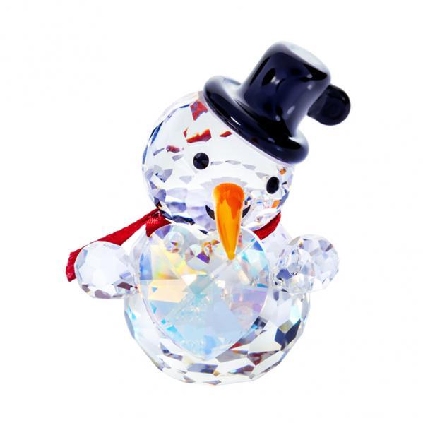 Preciosa Crystal Snowman Figurine with Top Hat and Big Heart