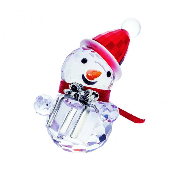 Preciosa Crystal Snowman with Red Scarf Holding Gift