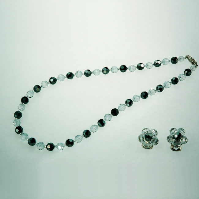 Preciosa Crystal Bead Necklace Set - Jet Hematite