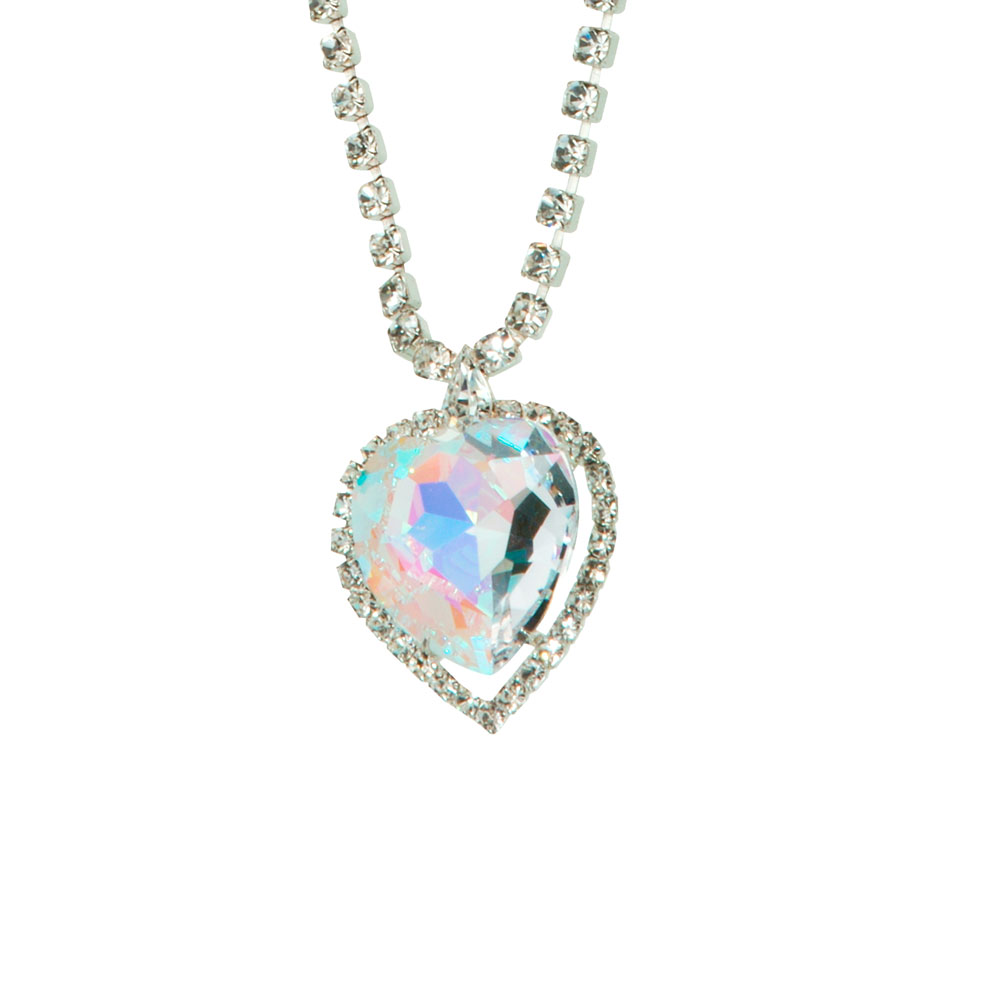 Preciosa Crystal Aurora Borealis Heart Necklace