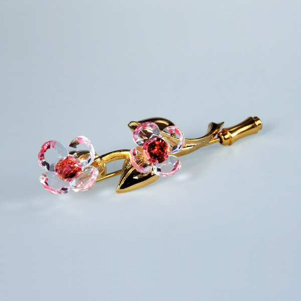 Preciosa Gold Pin with Crystal Pink Flower