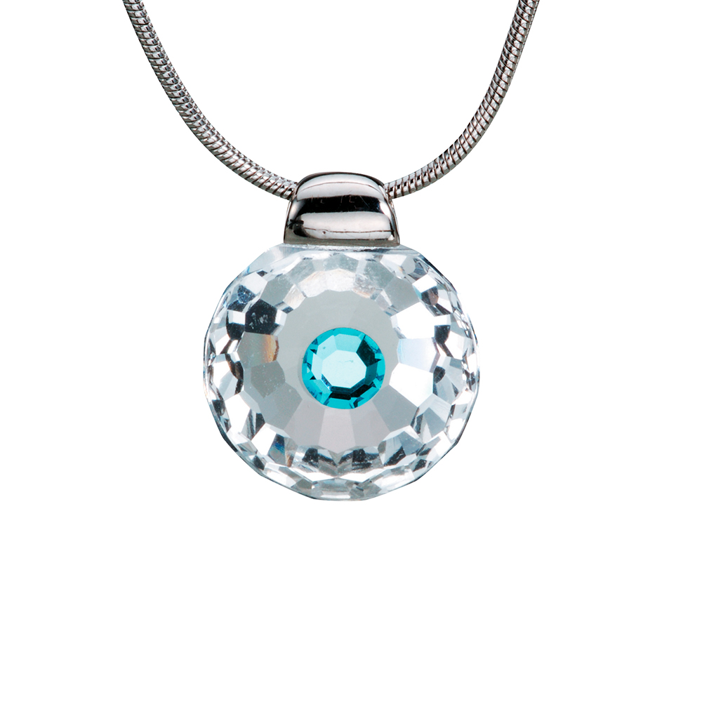 Preciosa Crystal Aqua Solitaire Pendant - Betty